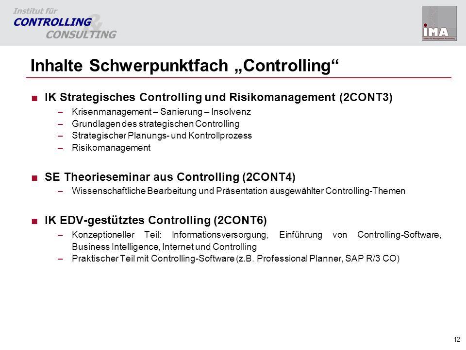 """Inhalte Schwerpunktfach """"Controlling"""