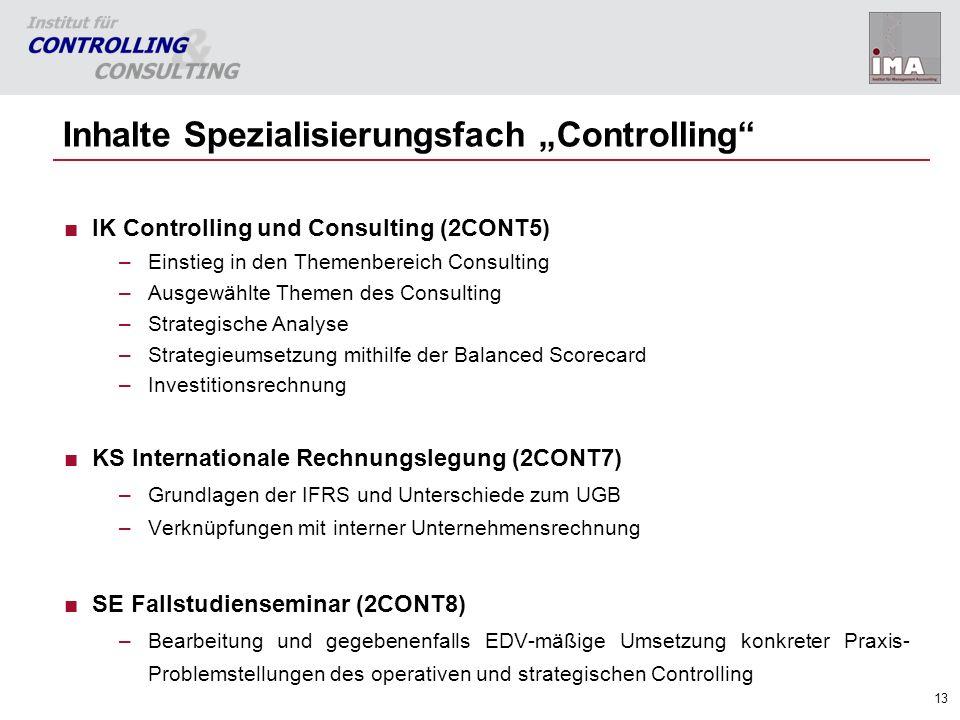 """Inhalte Spezialisierungsfach """"Controlling"""