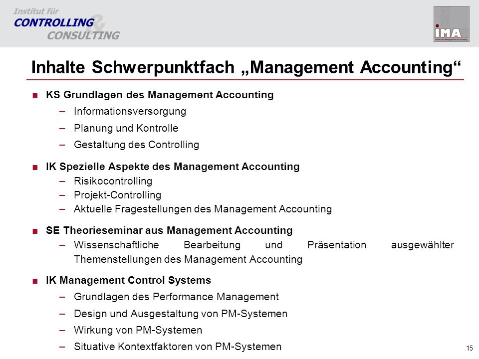 "Inhalte Schwerpunktfach ""Management Accounting"