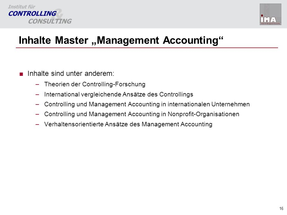 "Inhalte Master ""Management Accounting"