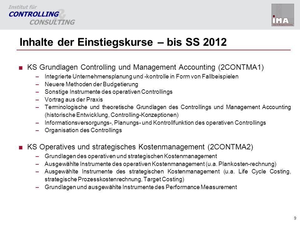 Inhalte der Einstiegskurse – bis SS 2012