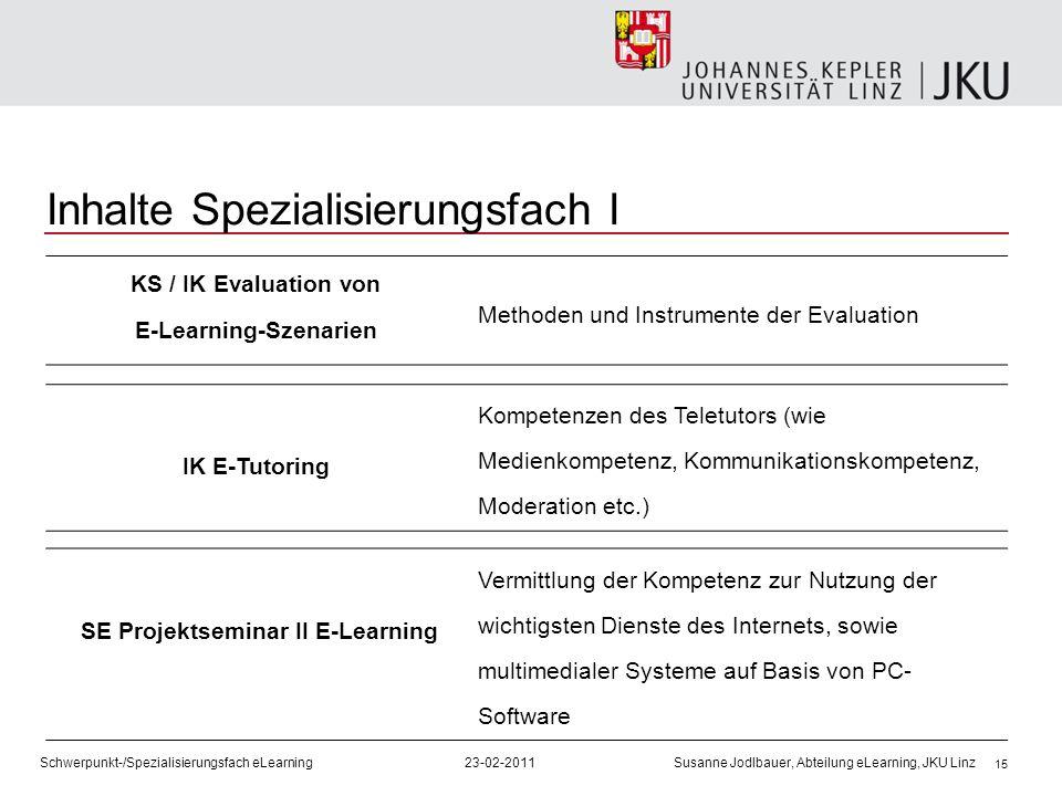 Inhalte Spezialisierungsfach I