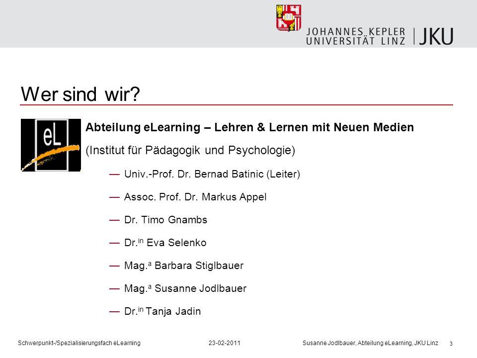 Wer sind wir Abteilung eLearning – Lehren & Lernen mit Neuen Medien (Institut für Pädagogik und Psychologie)