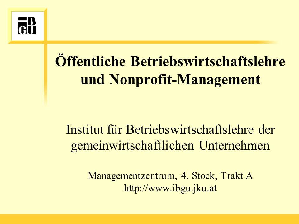 Öffentliche Betriebswirtschaftslehre und Nonprofit-Management