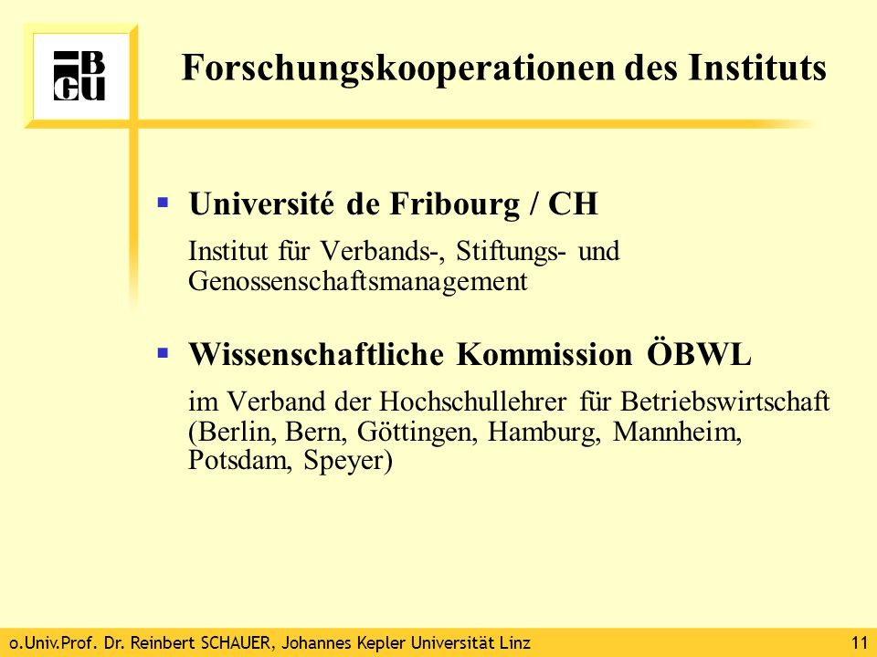 Forschungskooperationen des Instituts