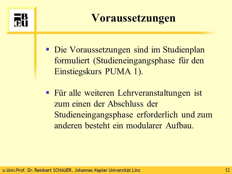 Voraussetzungen Die Voraussetzungen sind im Studienplan formuliert (Studieneingangsphase für den Einstiegskurs PUMA 1).