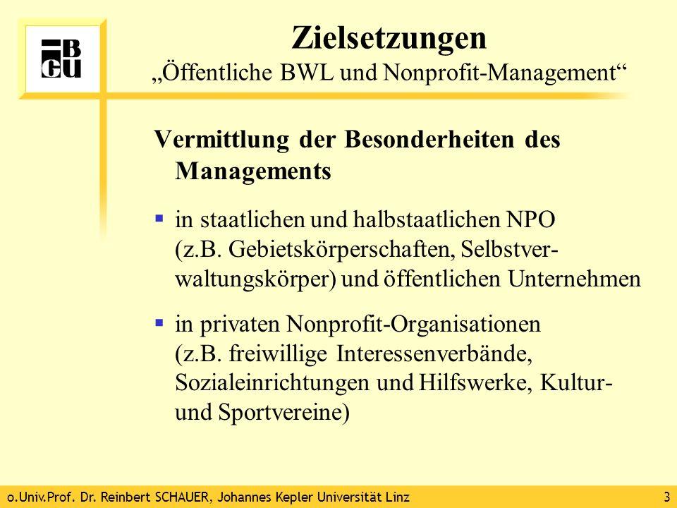 """Zielsetzungen """"Öffentliche BWL und Nonprofit-Management"""