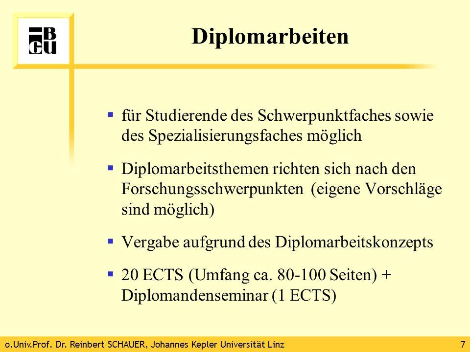 Diplomarbeiten für Studierende des Schwerpunktfaches sowie des Spezialisierungsfaches möglich.