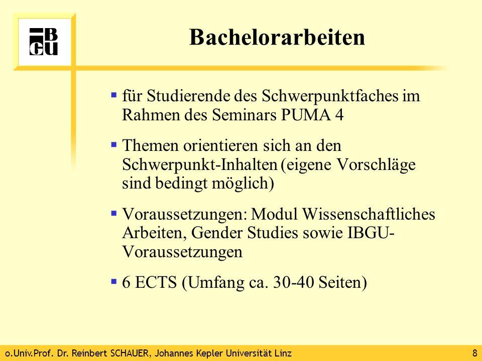 Bachelorarbeiten für Studierende des Schwerpunktfaches im Rahmen des Seminars PUMA 4.