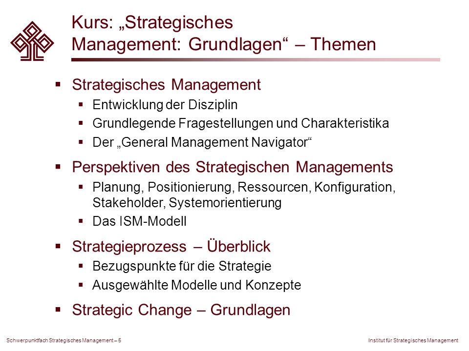"""Kurs: """"Strategisches Management: Grundlagen – Themen"""