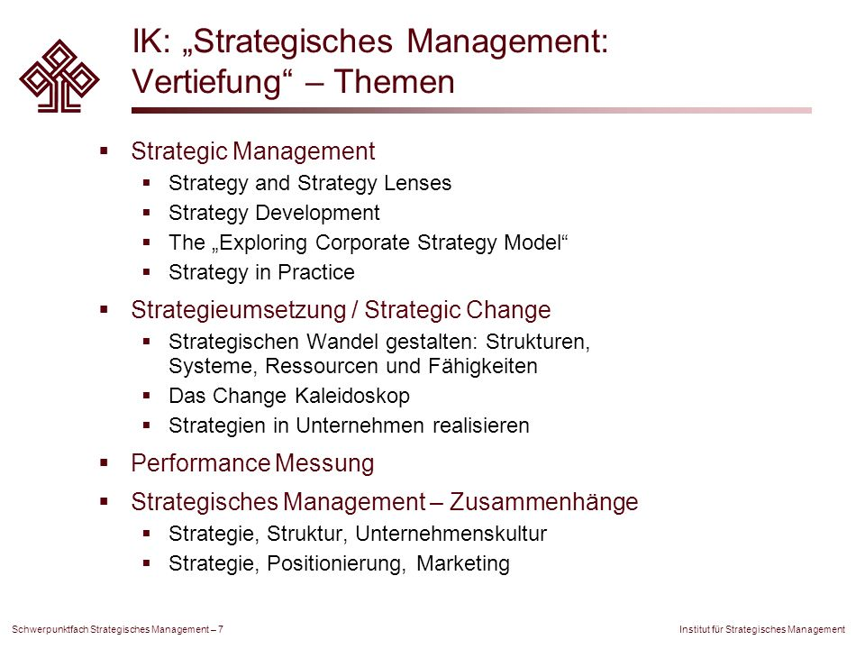 "IK: ""Strategisches Management: Vertiefung – Themen"