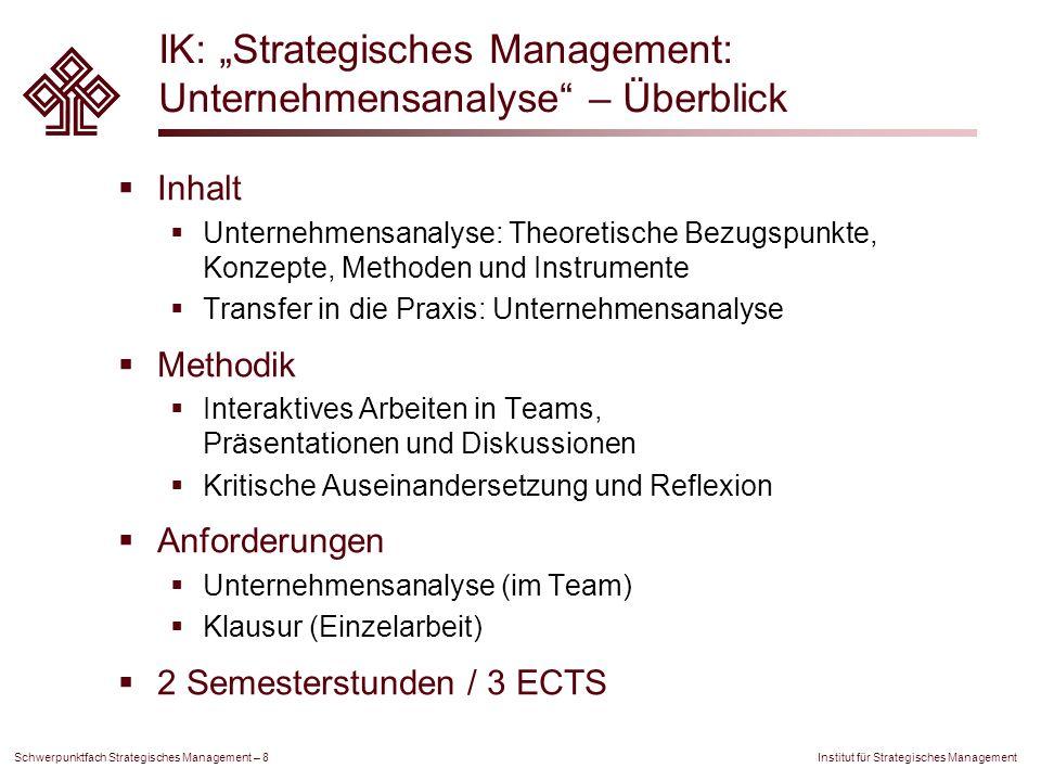 """IK: """"Strategisches Management: Unternehmensanalyse – Überblick"""