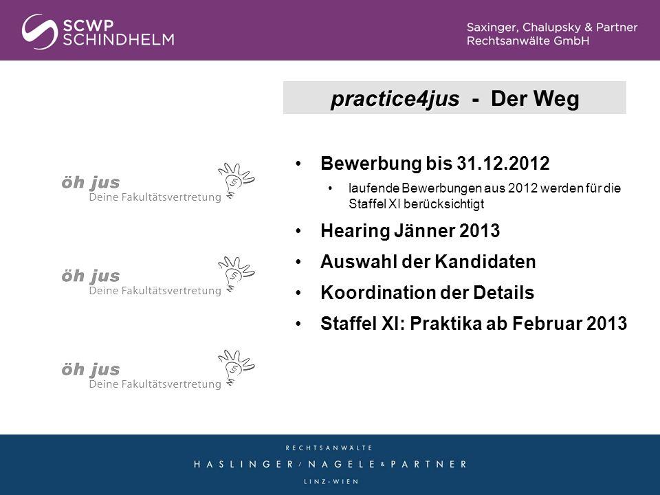 practice4jus - Der Weg Bewerbung bis 31.12.2012 Hearing Jänner 2013