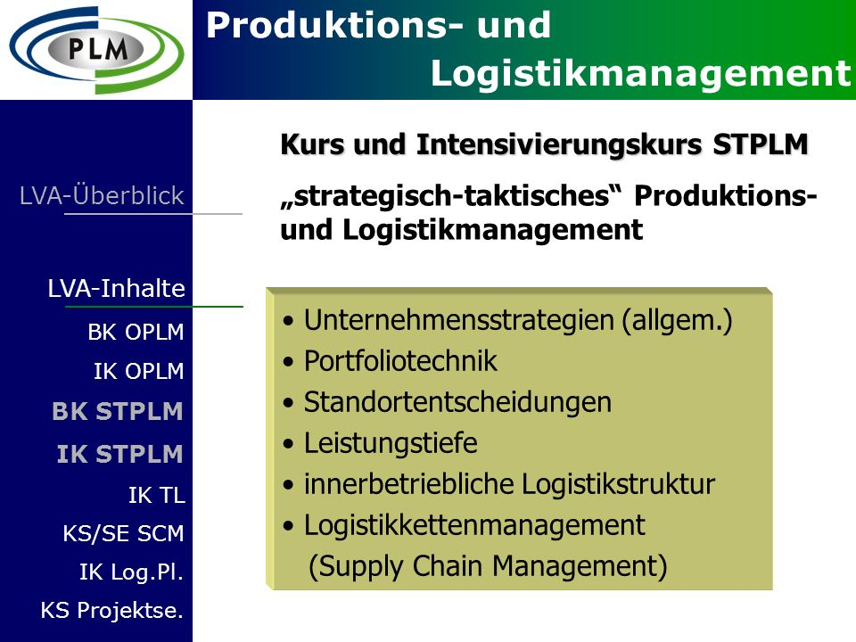 Kurs und Intensivierungskurs STPLM