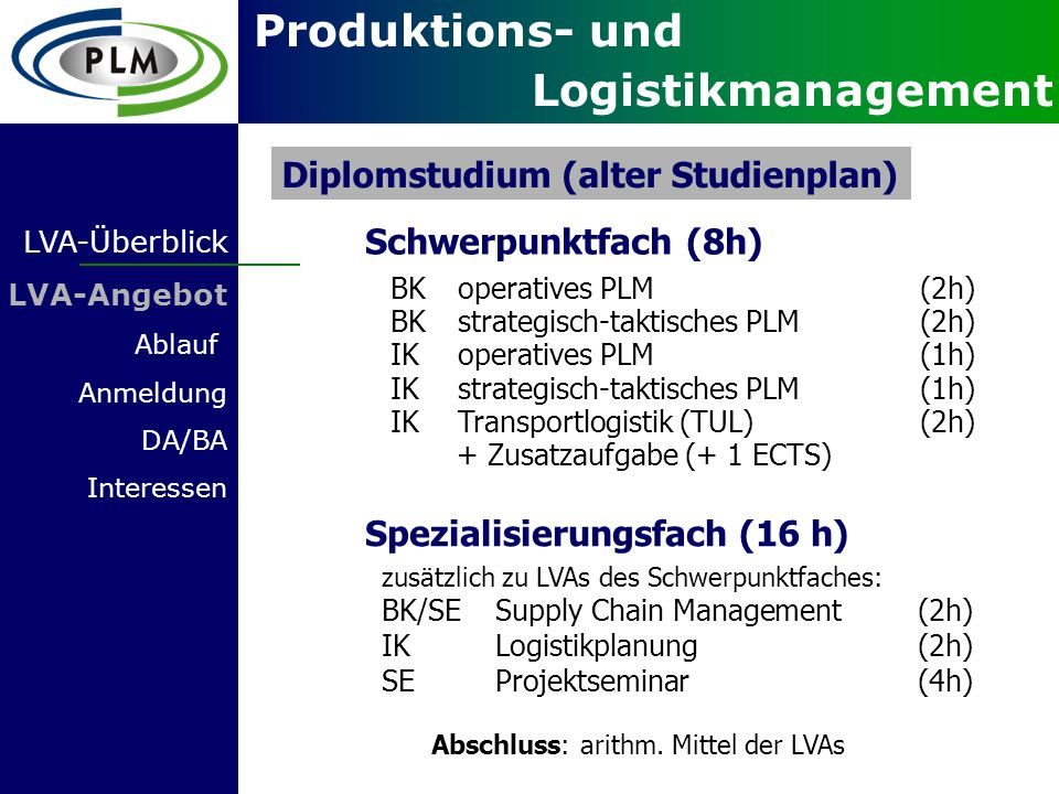 Diplomstudium (alter Studienplan)