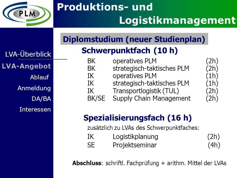 Diplomstudium (neuer Studienplan) Schwerpunktfach (10 h)