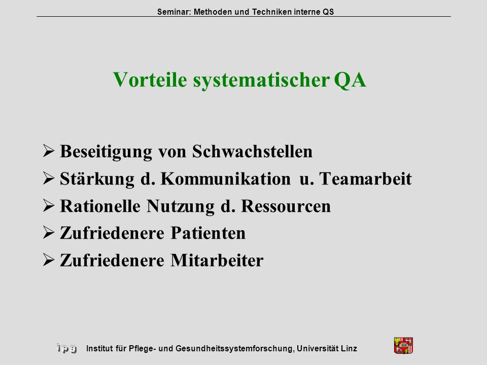 Vorteile systematischer QA