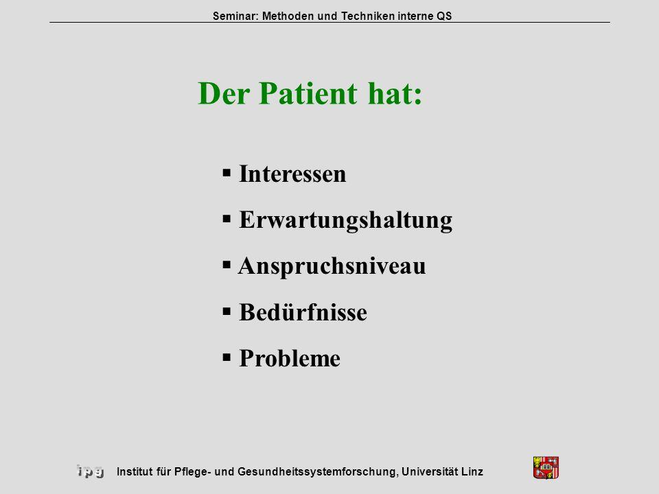 Der Patient hat: Interessen Erwartungshaltung Anspruchsniveau