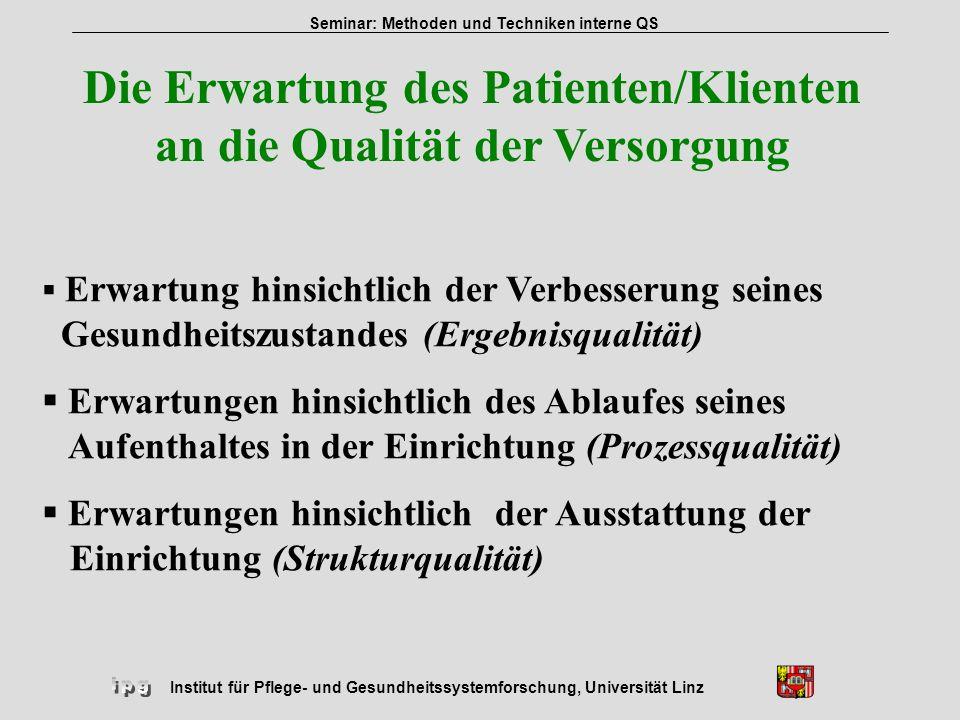 Die Erwartung des Patienten/Klienten an die Qualität der Versorgung