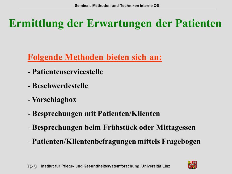 Ermittlung der Erwartungen der Patienten