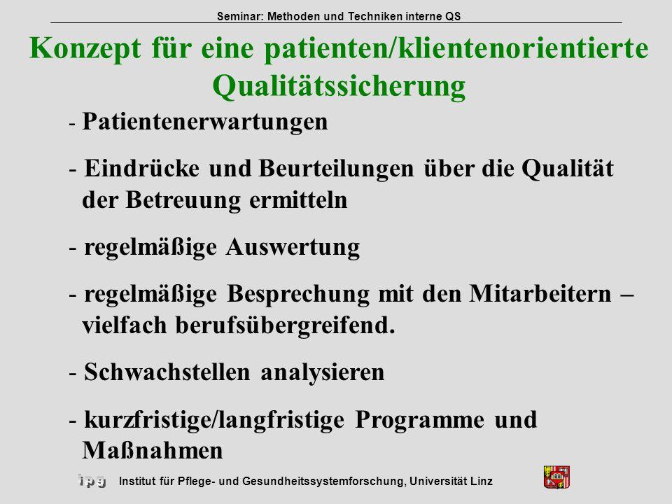 Konzept für eine patienten/klientenorientierte Qualitätssicherung