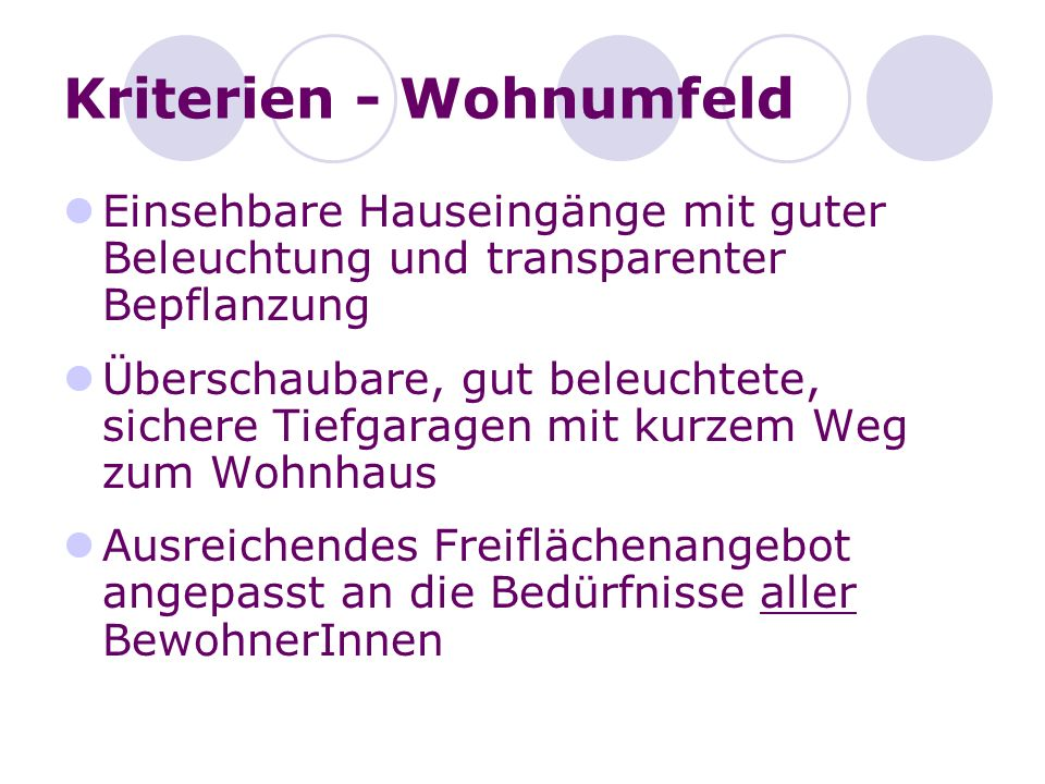 Kriterien - Wohnumfeld