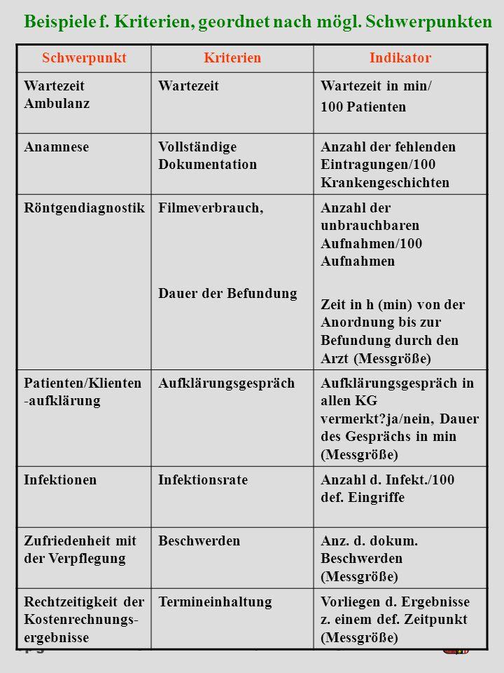 Beispiele f. Kriterien, geordnet nach mögl. Schwerpunkten