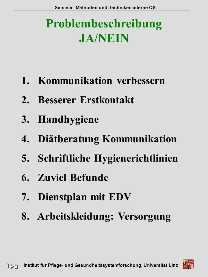 Problembeschreibung JA/NEIN