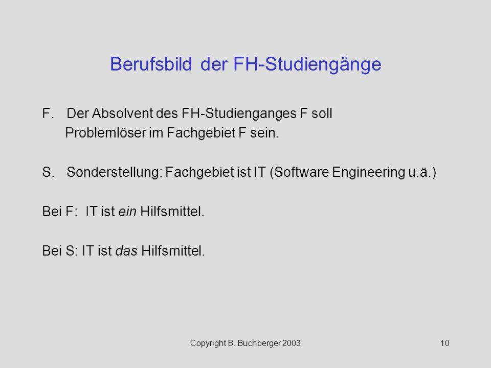 Berufsbild der FH-Studiengänge