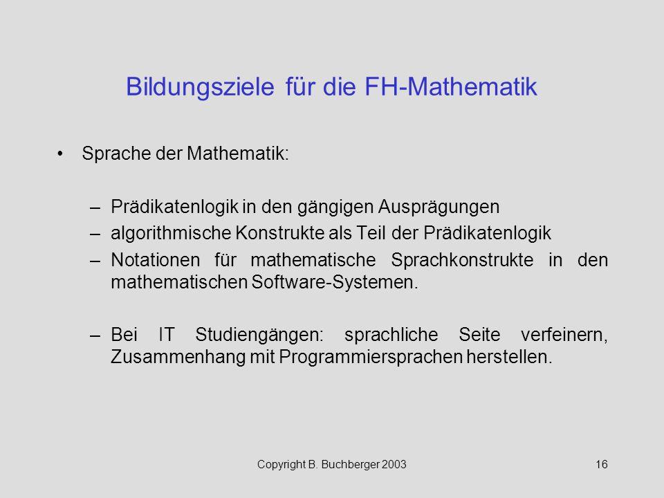 Bildungsziele für die FH-Mathematik