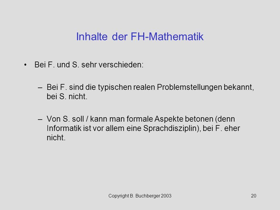 Inhalte der FH-Mathematik