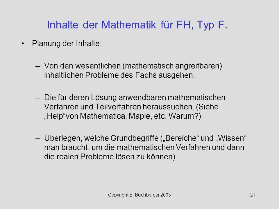 Inhalte der Mathematik für FH, Typ F.