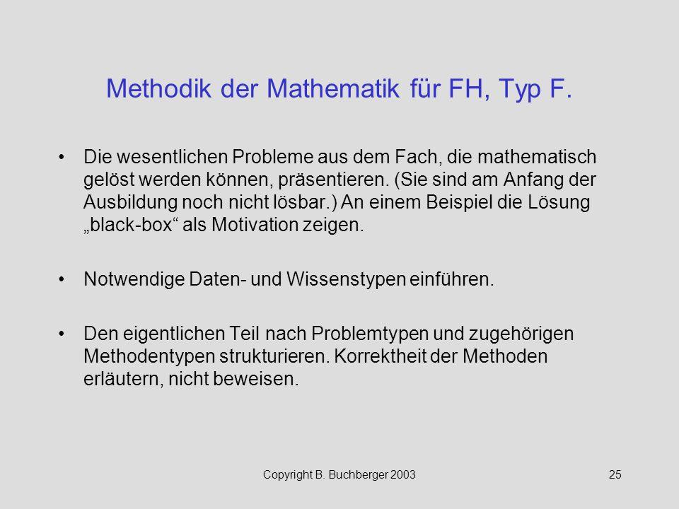 Methodik der Mathematik für FH, Typ F.