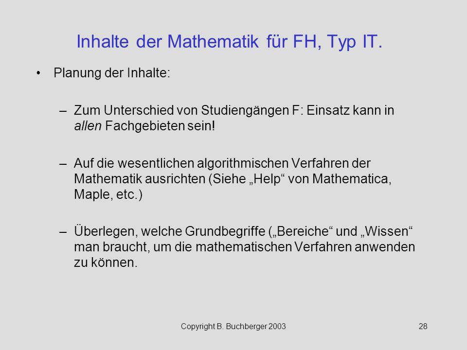 Inhalte der Mathematik für FH, Typ IT.