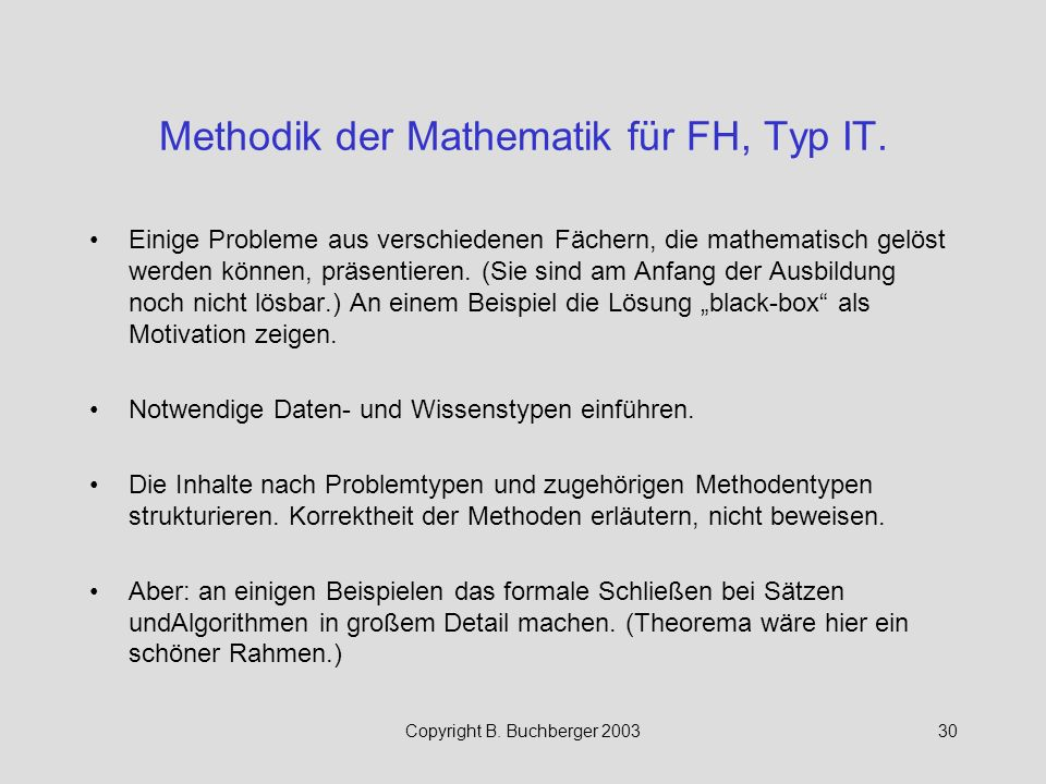 Methodik der Mathematik für FH, Typ IT.