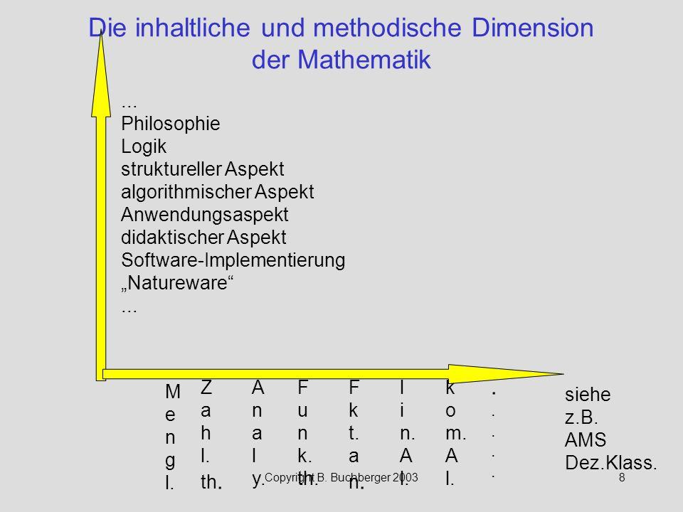 Die inhaltliche und methodische Dimension der Mathematik