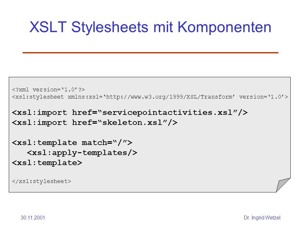 XSLT Stylesheets mit Komponenten