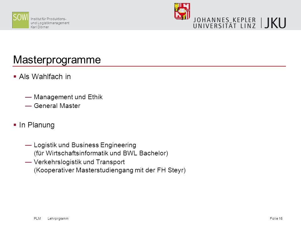 Masterprogramme Als Wahlfach in In Planung Management und Ethik