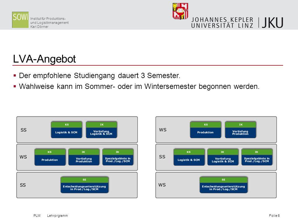 LVA-Angebot Der empfohlene Studiengang dauert 3 Semester.