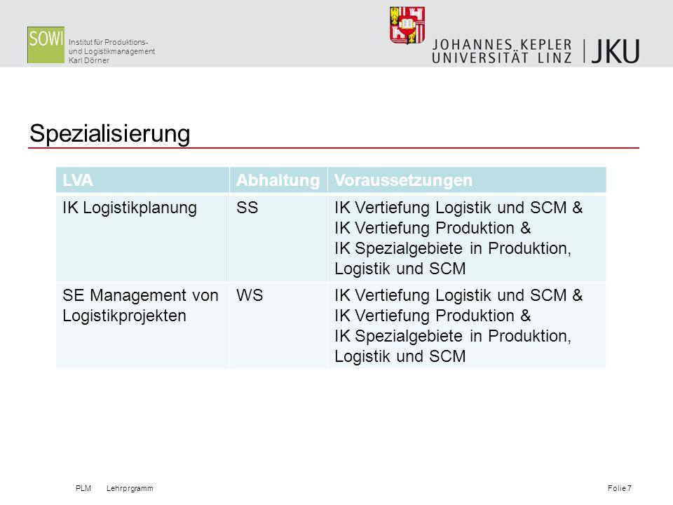 Spezialisierung LVA Abhaltung Voraussetzungen IK Logistikplanung SS