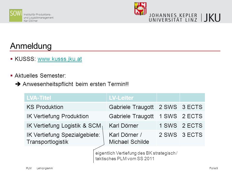 Anmeldung KUSSS: www.kusss.jku.at Aktuelles Semester: