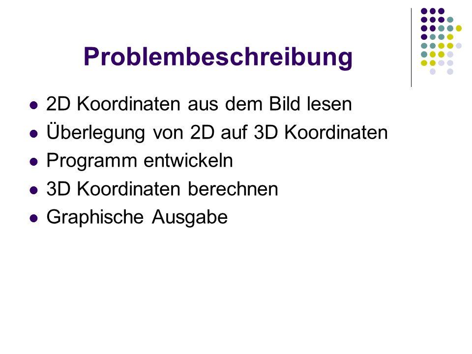 Problembeschreibung 2D Koordinaten aus dem Bild lesen