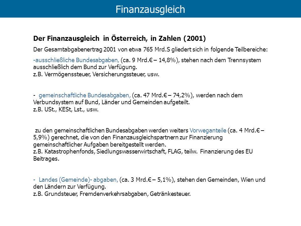 Finanzausgleich Der Finanzausgleich in Österreich, in Zahlen (2001)