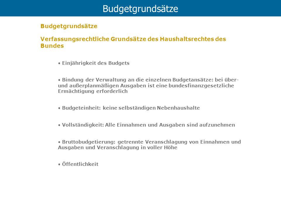 Budgetgrundsätze Budgetgrundsätze