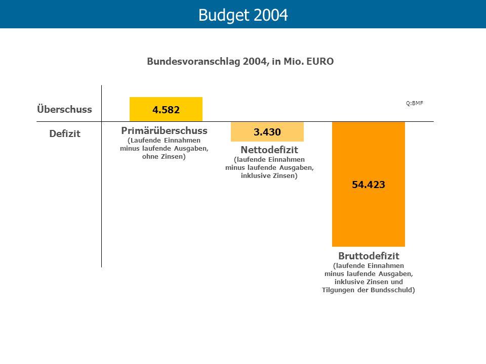 Budget 2004 Bundesvoranschlag 2004, in Mio. EURO Überschuss 4.582