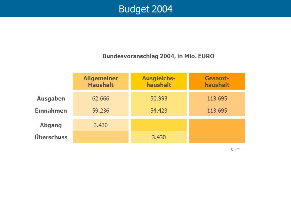 Budget 2004 Bundesvoranschlag 2004, in Mio. EURO Allgemeiner Haushalt