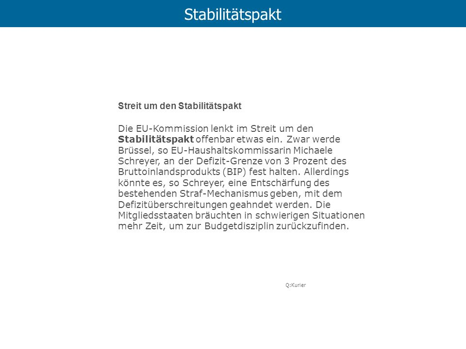 Stabilitätspakt Streit um den Stabilitätspakt
