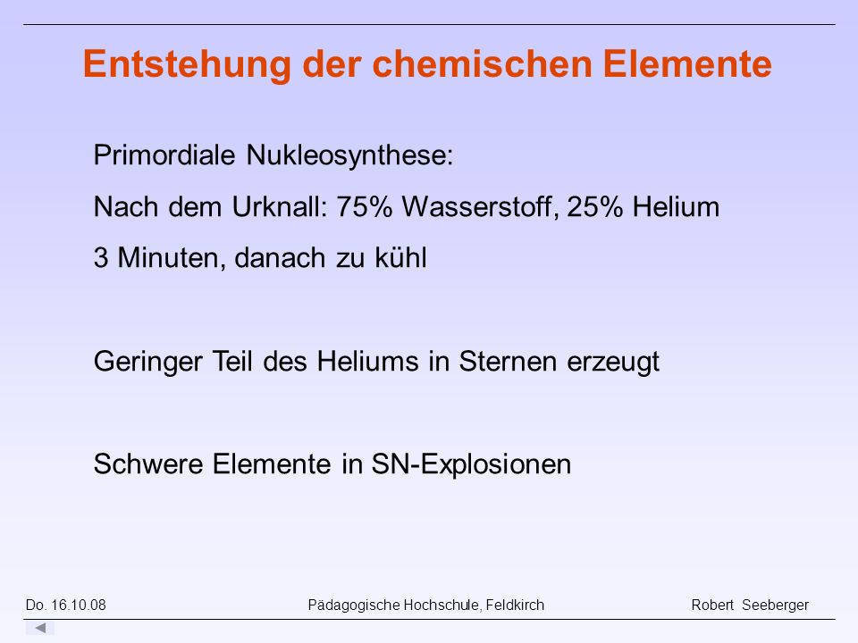 Entstehung der chemischen Elemente
