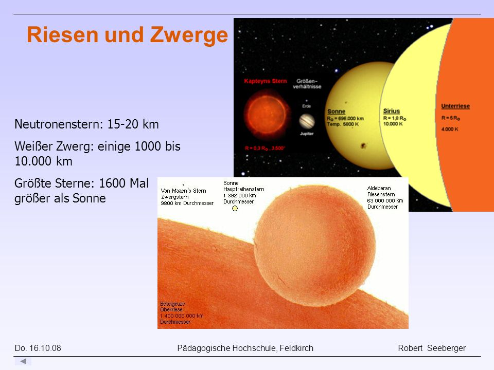 Riesen und Zwerge Neutronenstern: 15-20 km