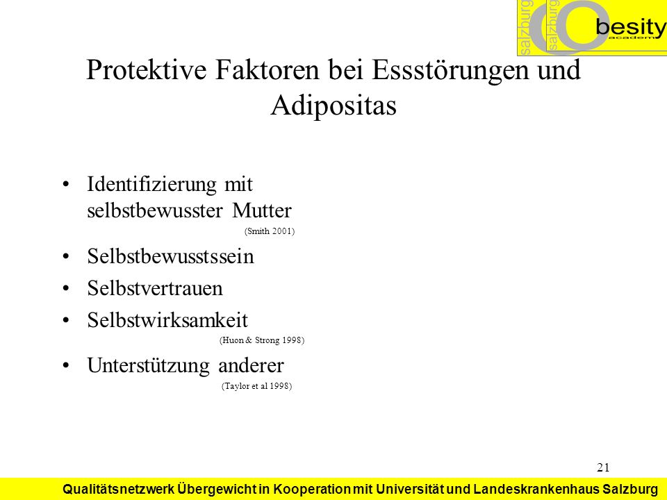 Protektive Faktoren bei Essstörungen und Adipositas